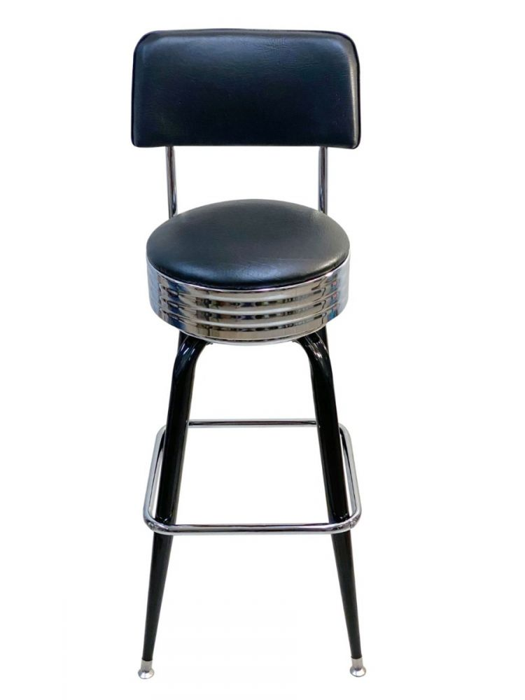 #104/BACKBAND Square Frame Bar Stool with Back and Chrome Seat Band