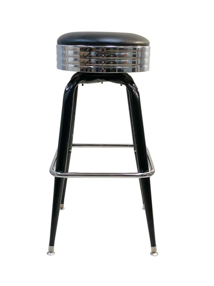 #104/BAND Square Frame Bar Stool with Chrome Seat Band