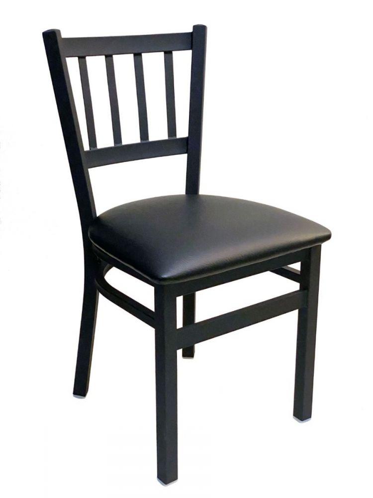 #309/ Vertical Back Chair Black With Black Vinyl Seat