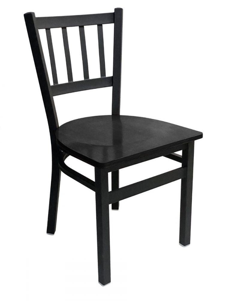 #309/ Vertical Back Chair Black with Black Wood Seat