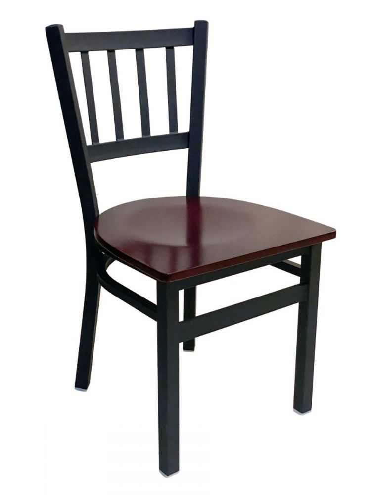 #309/ Vertical Back Chair Black with Brown Wood Seat