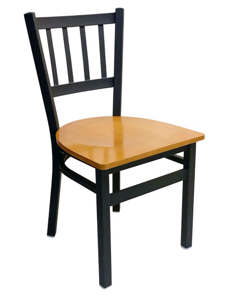 #309/ Vertical Back Chair Black with Natural Wood Seat