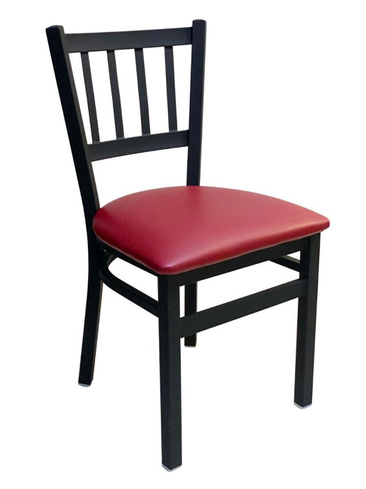 #309/ Vertical Back Chair Black With Claret Vinyl Seat