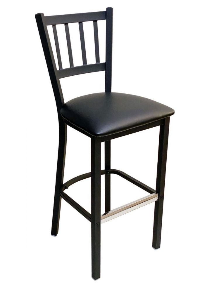 #309BS/ Vertical Back Bar Stool Black with Black Vinyl Seat