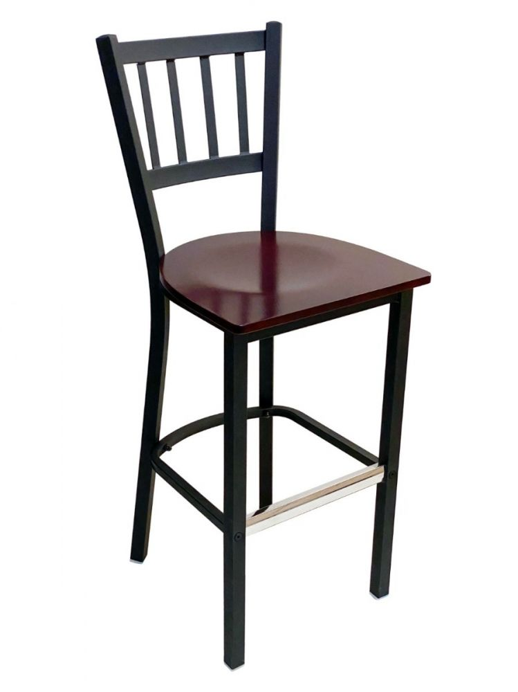 #309BS/ Vertical Back Bar Stool Black with Brown Wood Seat