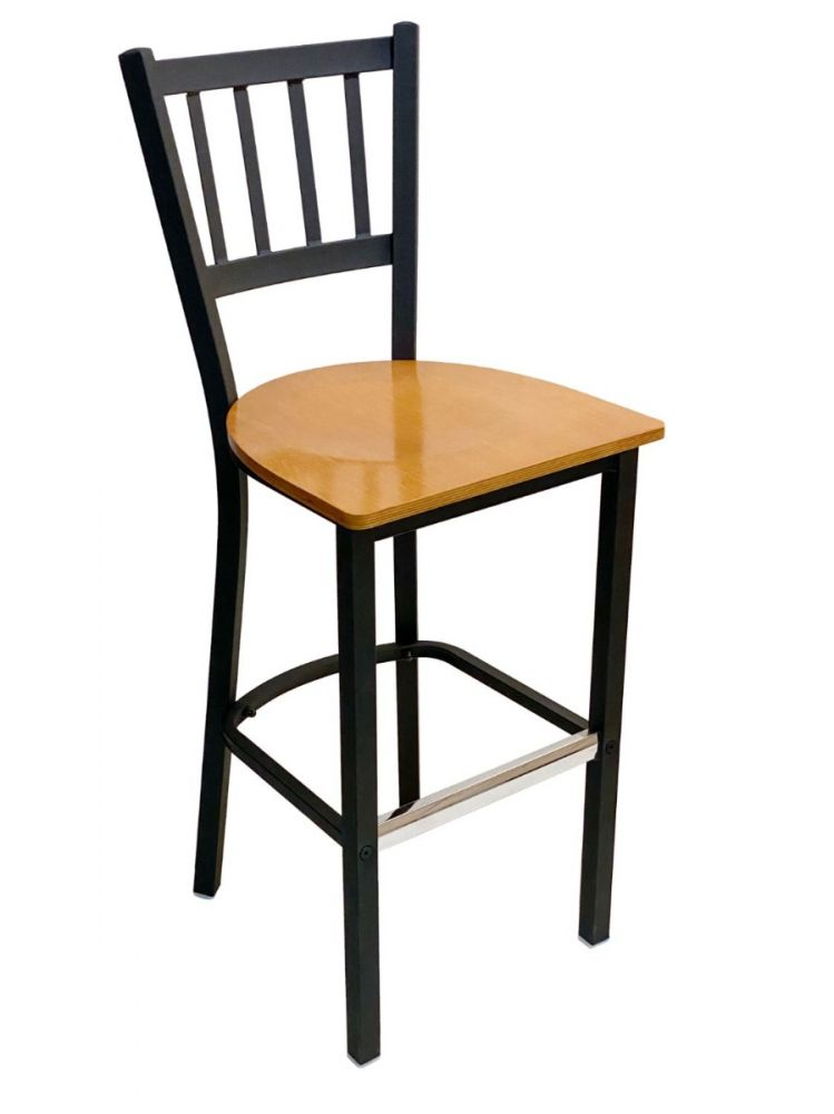 #309BS/ Vertical Back Bar Stool Black with Natural Wood Seat