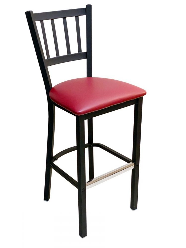 #309BS/ Vertical Back Bar Stool Black with Claret Vinyl Seat