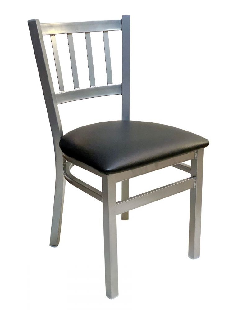 #309/ Vertical Back Chair Silver with Black Vinyl seat