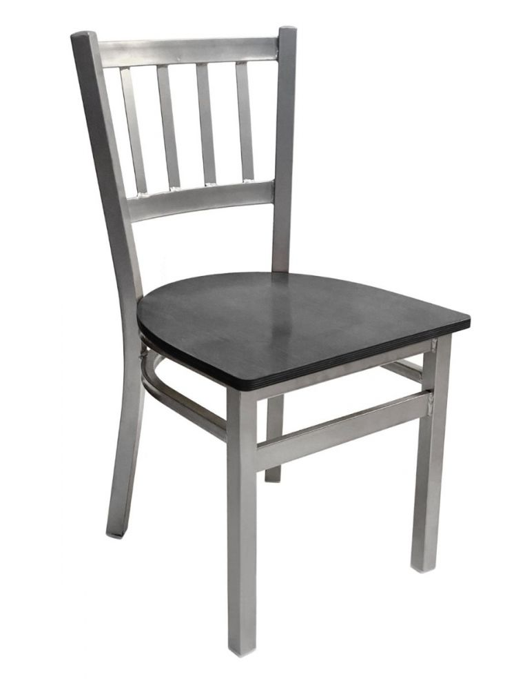 #309/ Vertical Back Chair Silver with Black Wood Seat