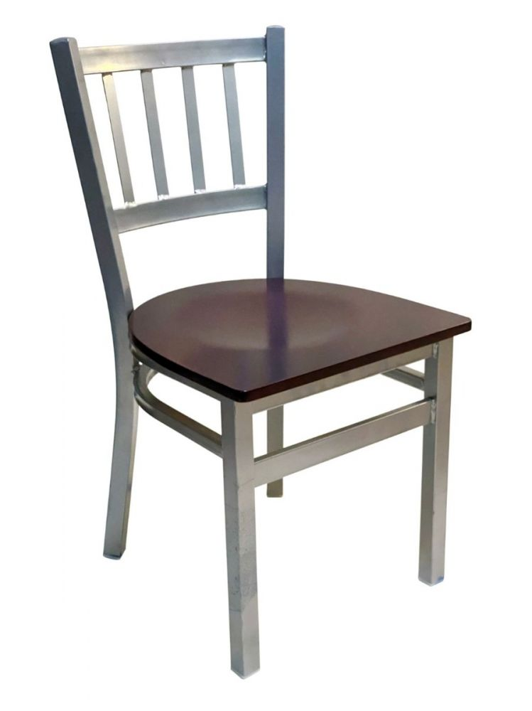 #309/ Vertical Back Chair Silver with Brown Wood Seat