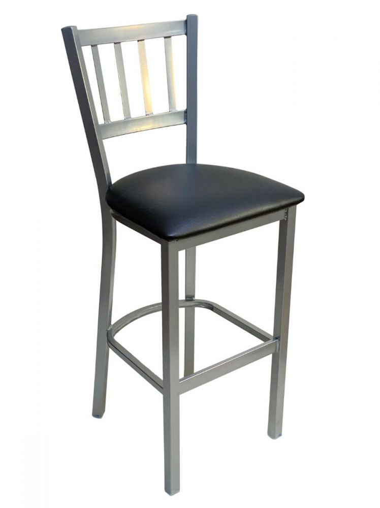 #309BS/ Vertical Back Bar Stool Silver with Black Vinyl Seat