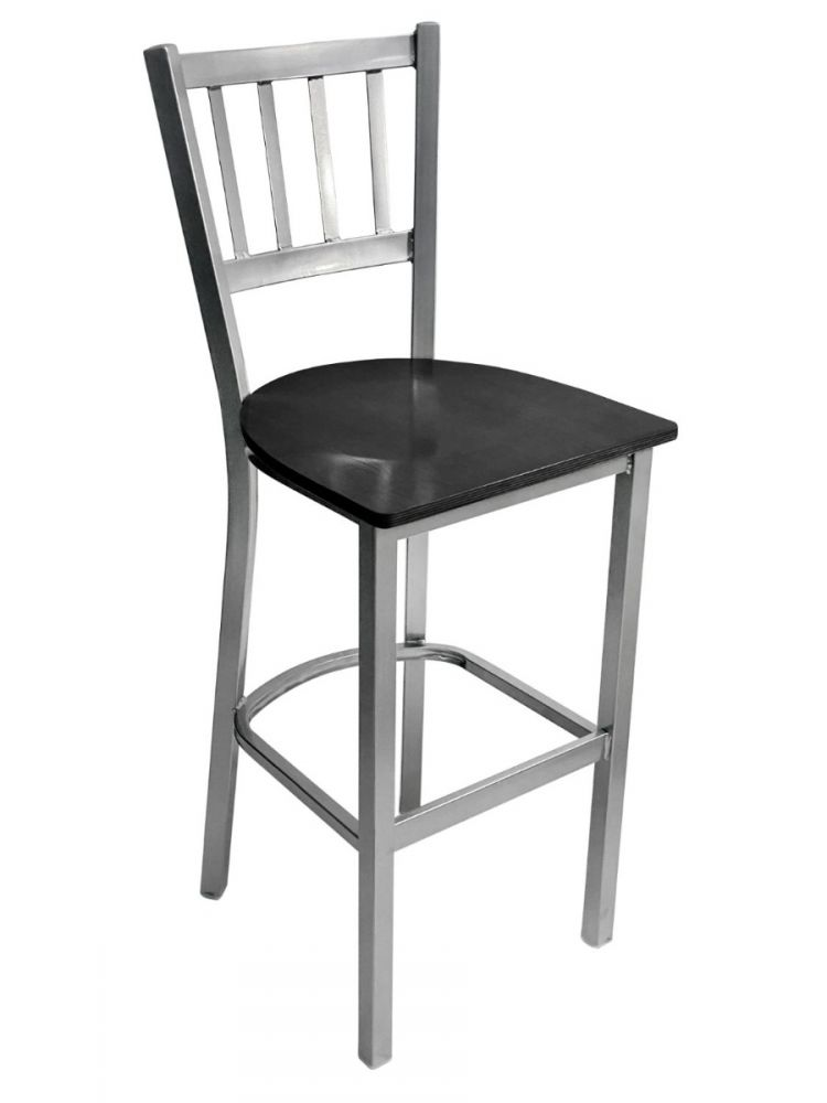 #309BS/ Vertical Back Bar Stool Silver with Black Wood Seat