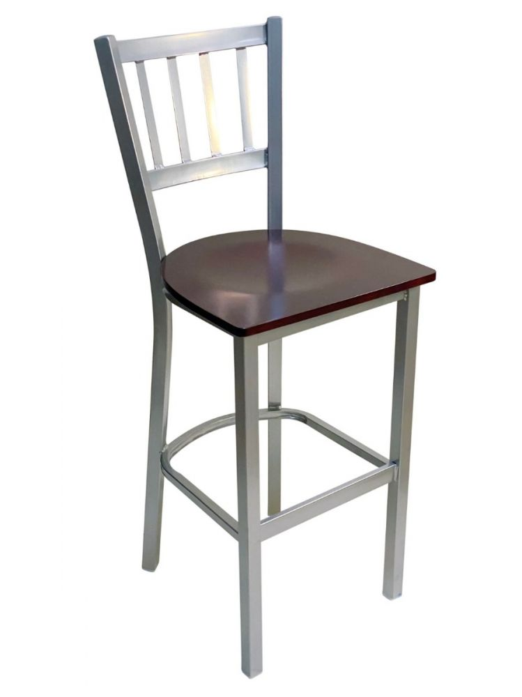 #309BS/ Vertical Back Bar Stool Silver with Brown Wood Seat
