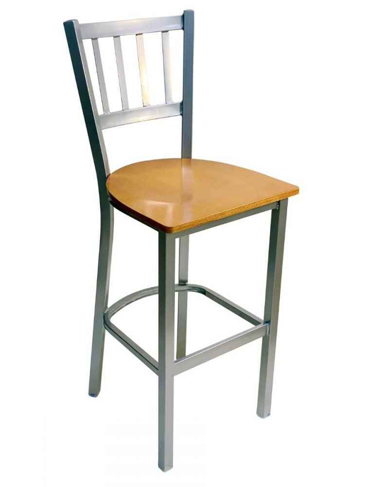 #309BS/ Vertical Back Bar Stool Silver with Natural Wood Seat