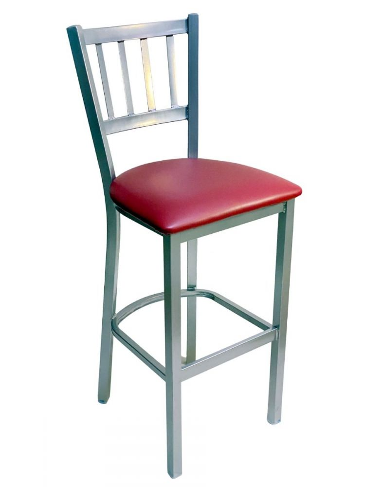 #309BS/ Vertical Back Bar Stool Silver with Claret Vinyl Seat