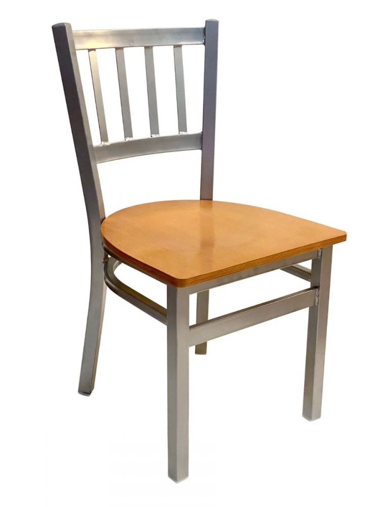 #309/ Vertical Back Chair Silver with Natural Wood Seat