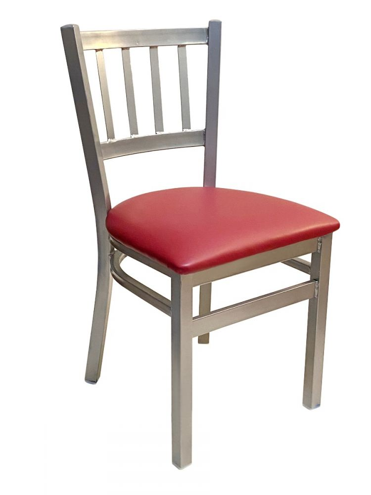 #309/ Vertical Back Chair Silver with Claret Vinyl seat
