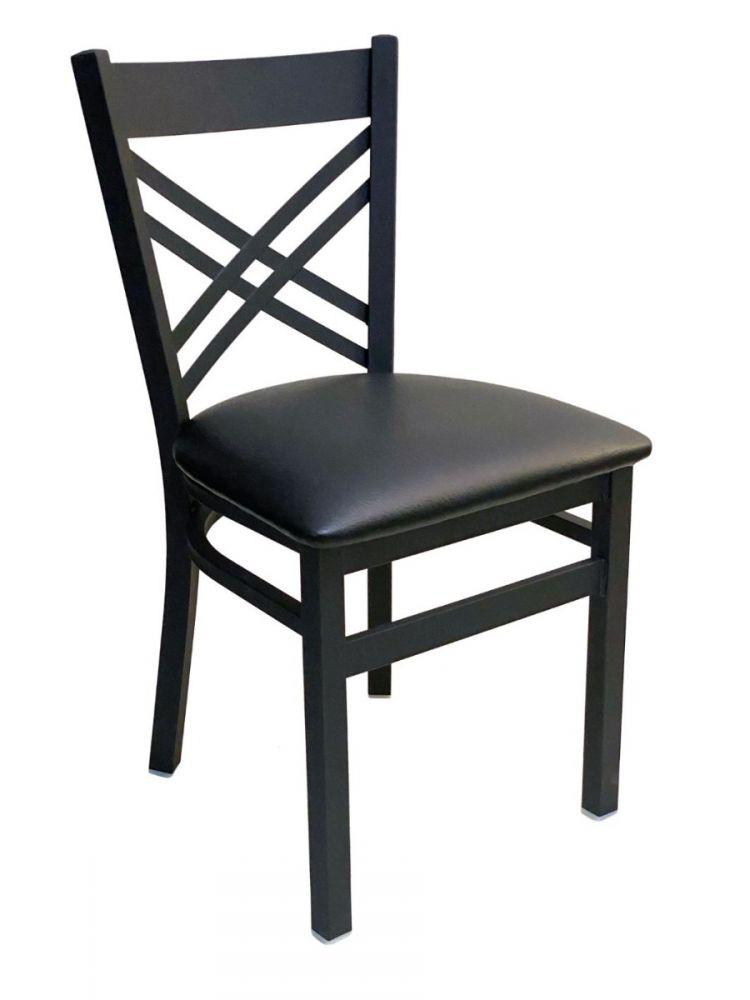 #310/ Crisscross Back Chair Black With Black Vinyl Seat