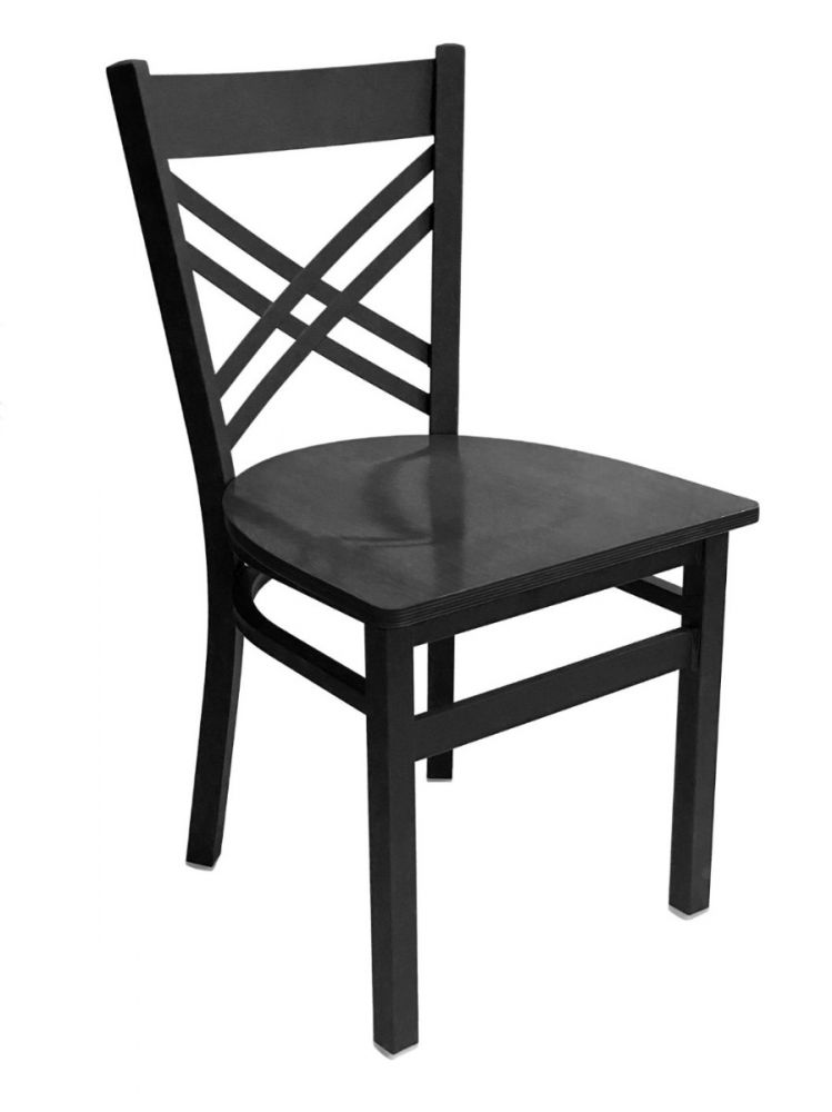 #310/ Crisscross Back Chair Black with Black Wood Seat