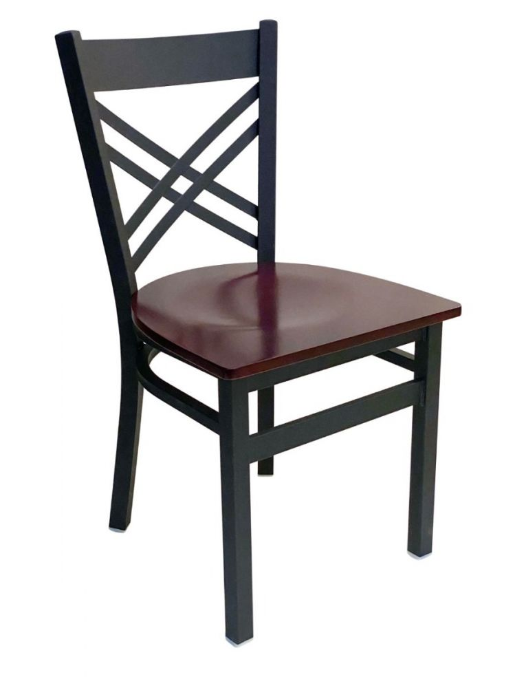 #310/ Crisscross Back Chair Black with Brown Wood Seat
