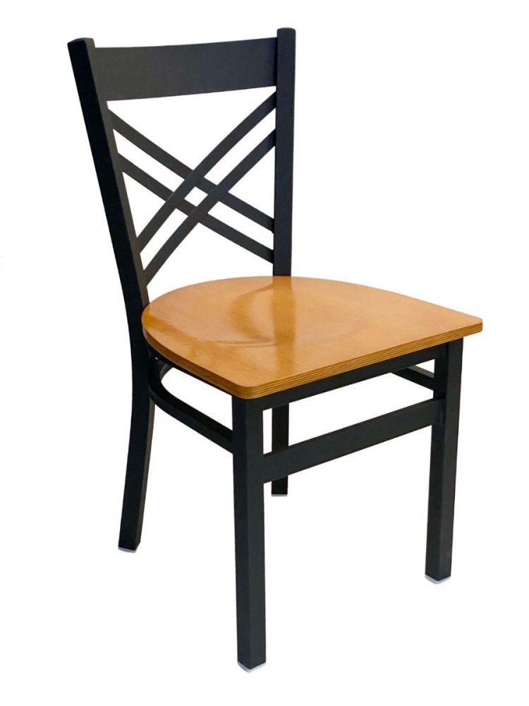 #310/ Crisscross Back Chair Black with Natural Wood Seat