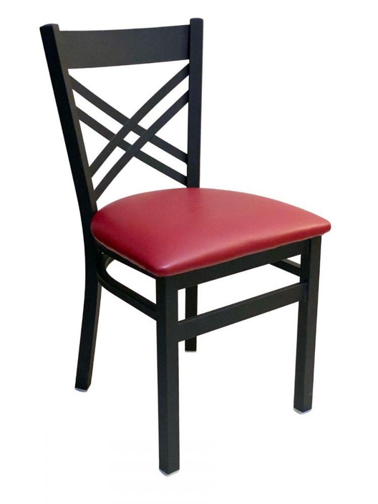 #310/ Crisscross Back Chair Black With Claret Vinyl Seat