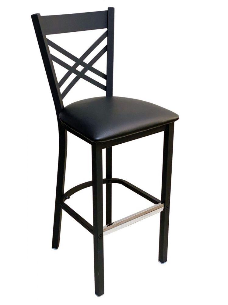 #310BS/ Crisscross Back Bar Stool Black with Black Vinyl Seat
