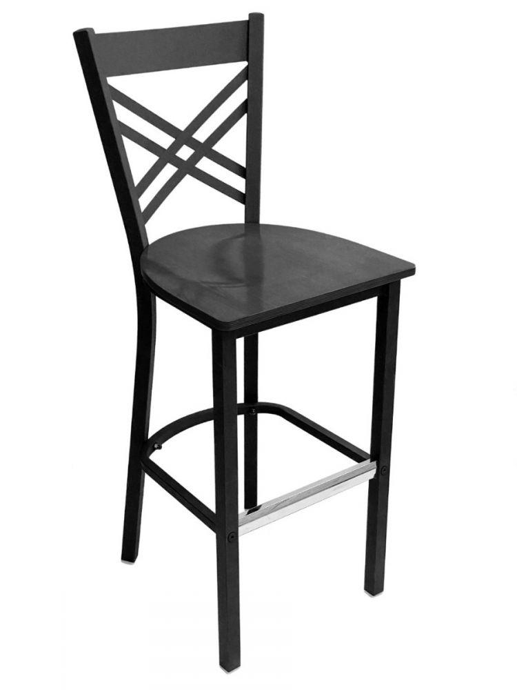 #310BS/ Crisscross Back Bar Stool Black with Black Wood Seat