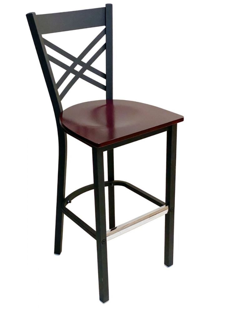#310BS/ Crisscross Back Bar Stool Black with Brown Wood Seat