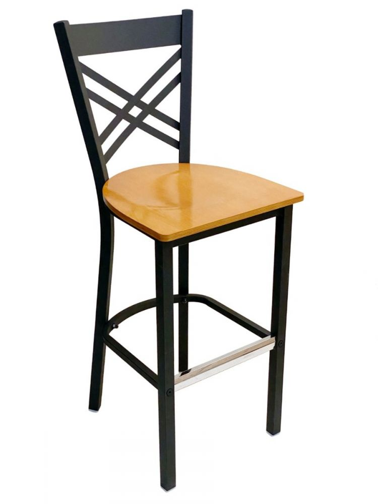 #310BS/ Crisscross Back Bar Stool Black with Natural Wood Seat