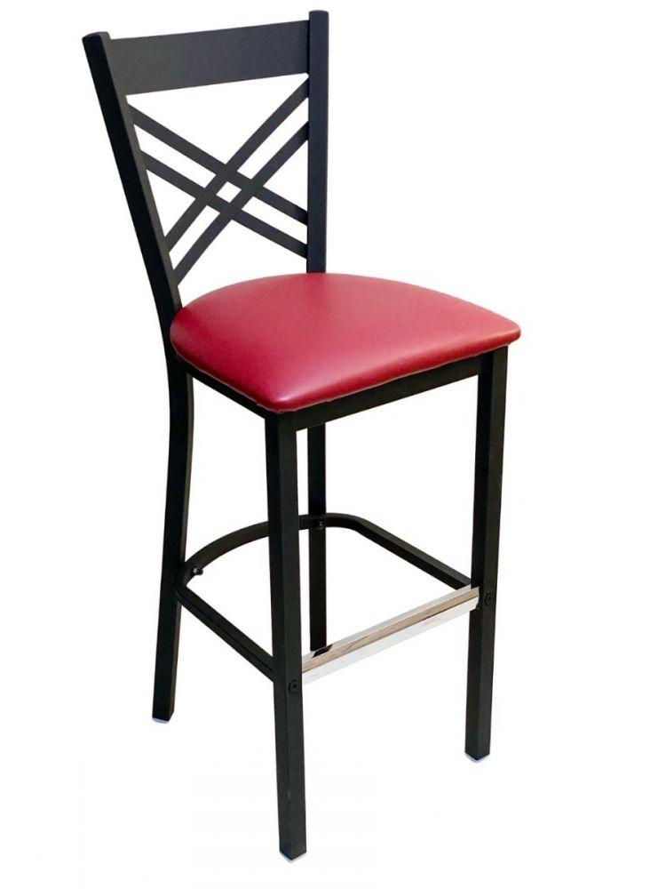 #310BS/ Crisscross Back Bar Stool Black with Claret Vinyl Seat