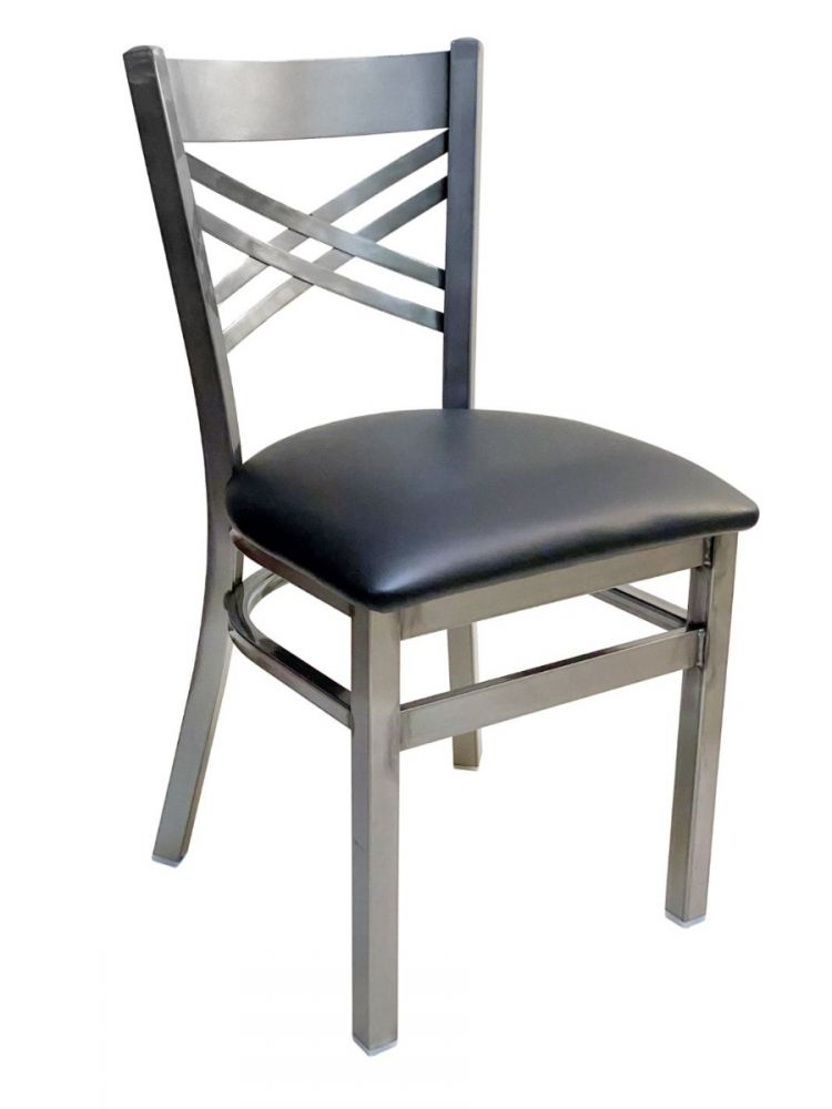 #310/ Crisscross Back Chair Clear Coat with Black Vinyl Seat