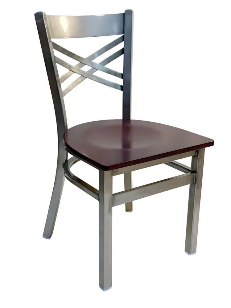 #310/ Crisscross Back Chair Clear Coat with Brown Wood Seat
