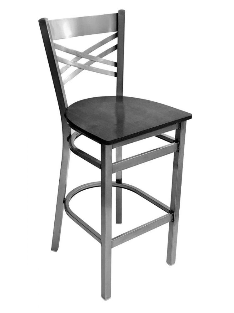 #310BS/CC Crisscross Back Bar Stool Clear Coat with Black Wood Seat