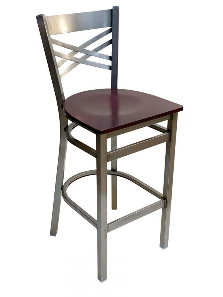 #310BS/CC Crisscross Back Bar Stool Clear Coat with Brown Wood Seat