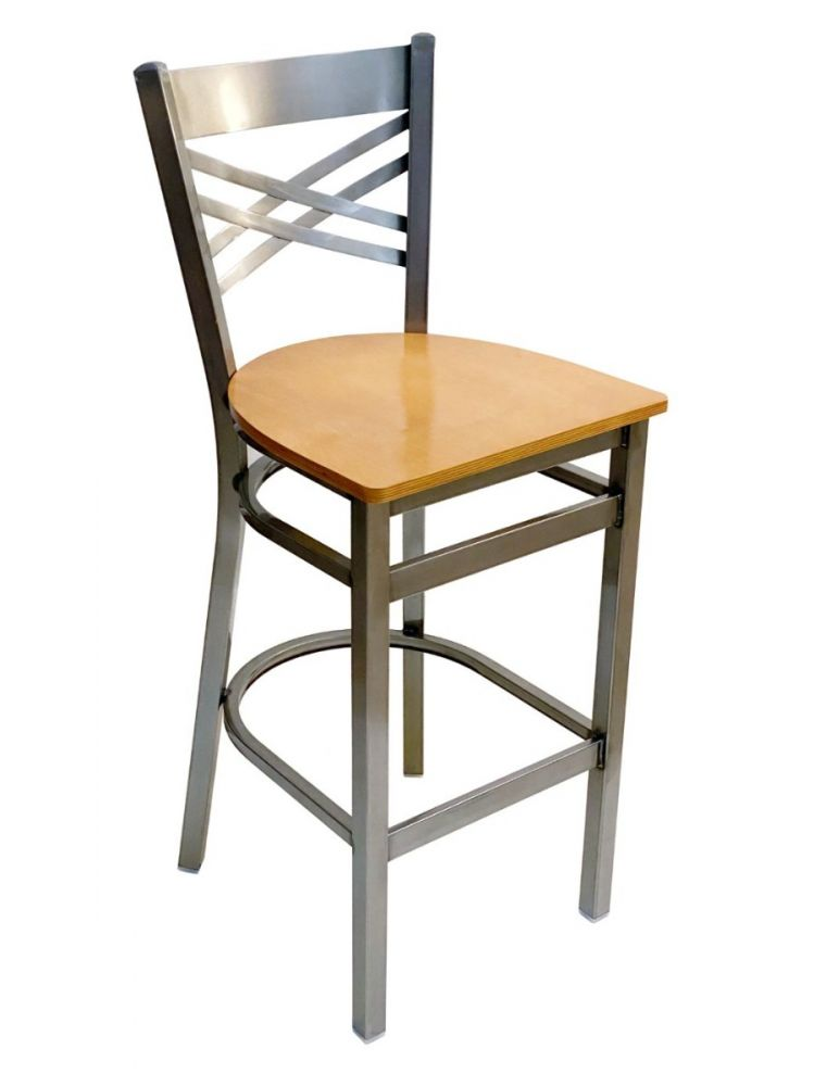 #310BS/CC Crisscross Back Bar Stool Clear Coat with Natural Wood Seat