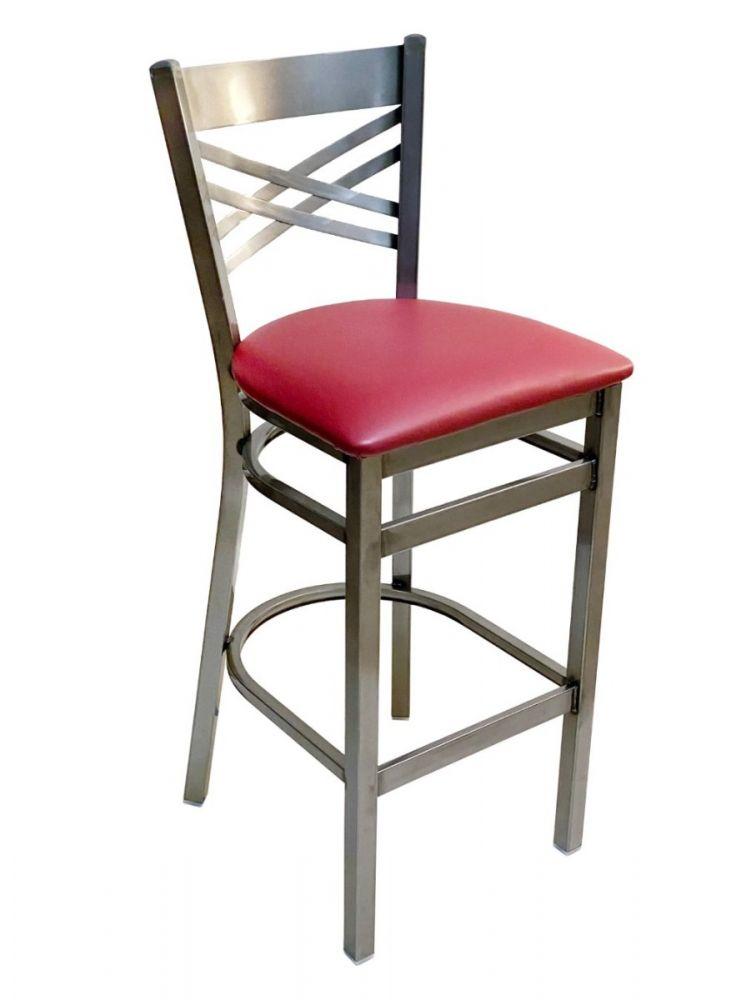 #310BS/CC Crisscross Back Bar Stool Clear Coat with Claret Vinyl Seat