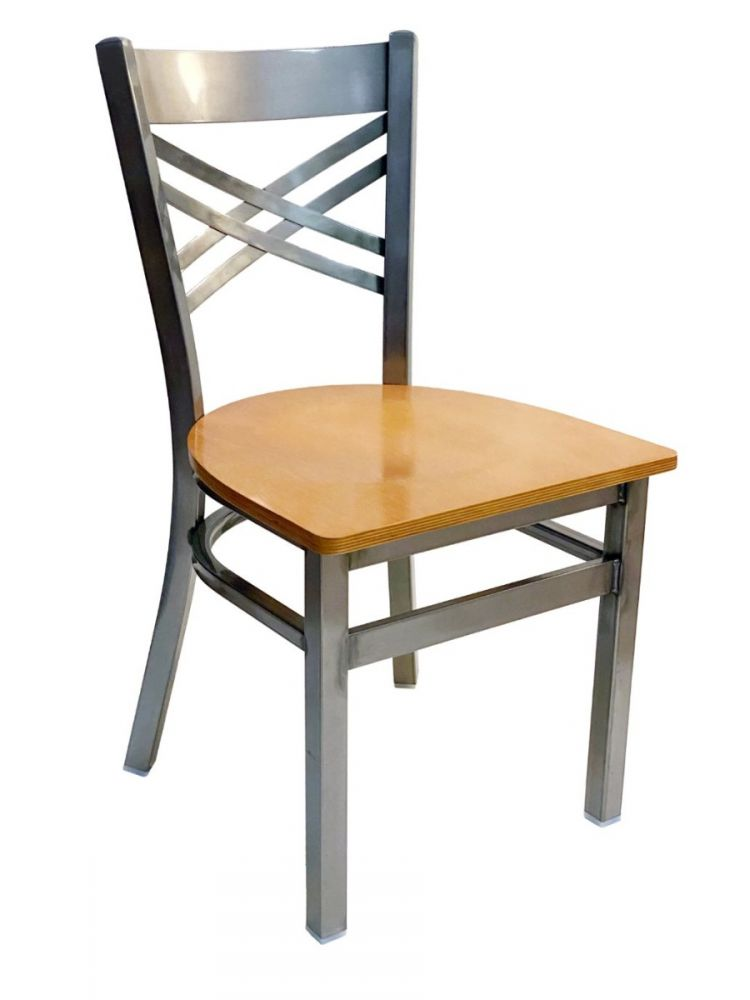 #310/ Crisscross Back Chair Clear Coat with Natural Wood Seat