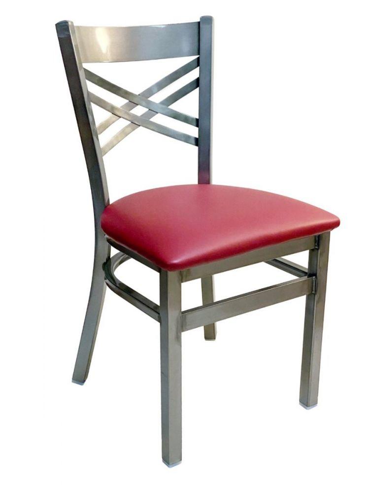 #310/ Crisscross Back Chair Clear Coat with Claret Vinyl Seat