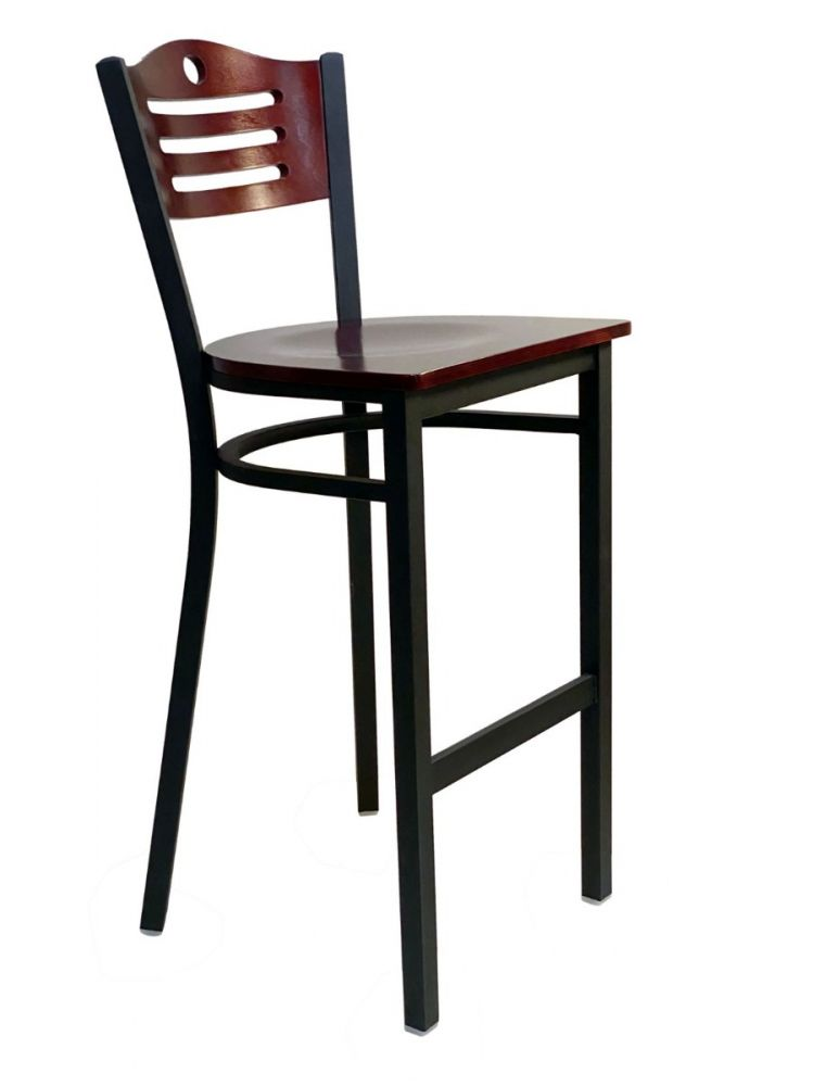 #315A-BS/ Ladder Wood Back Bar Stool Brown with Wood Seat