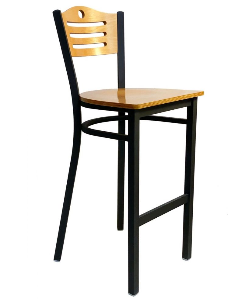 #315A-BS/ Ladder Wood Back Bar Stool Natural with Wood Seat