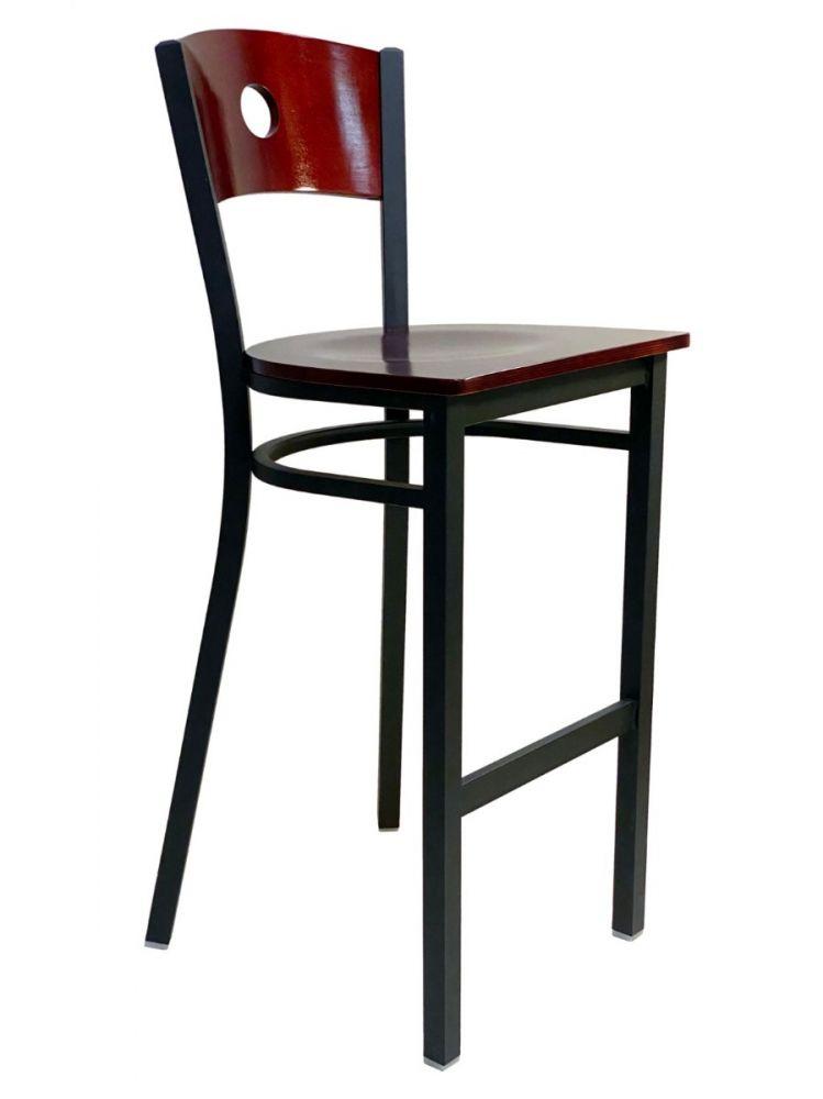 #315BS/CIRCLE Circle Wood Back Bar Stool Brown with Wood Seat