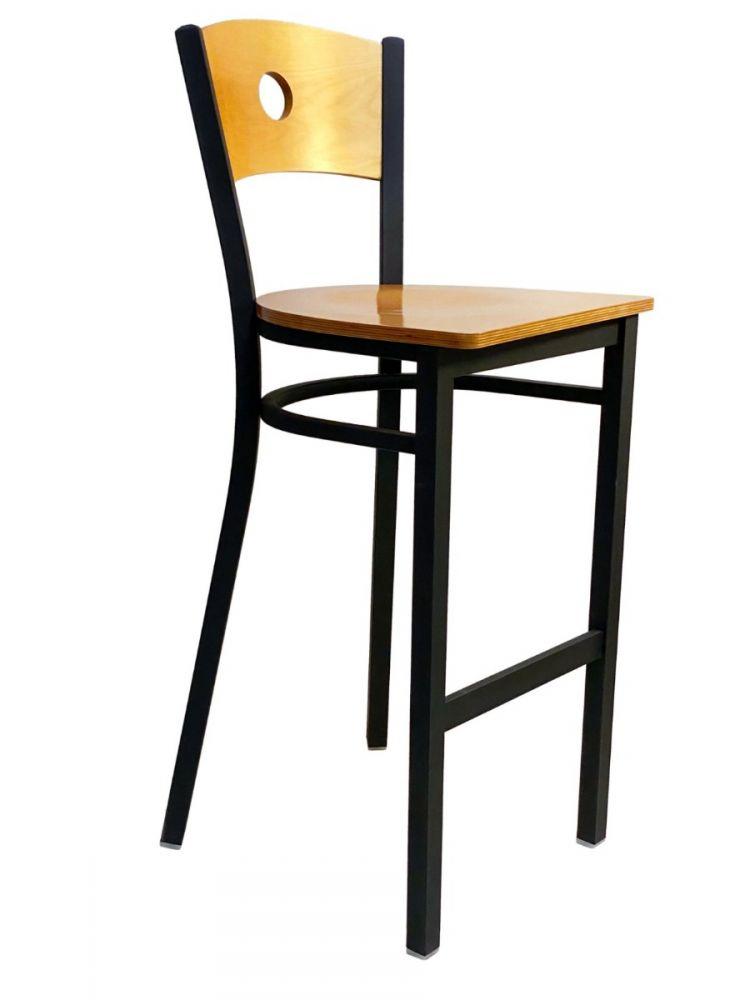 #315BS/CIRCLE Circle Wood Back Bar Stool Natural with Wood Seat