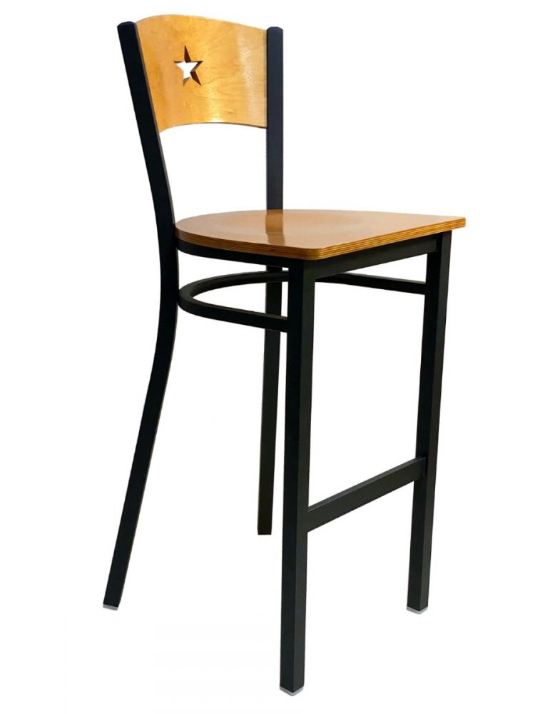 #315BS/STAR Star Wood Back Bar Stool Natural with Wood Seat