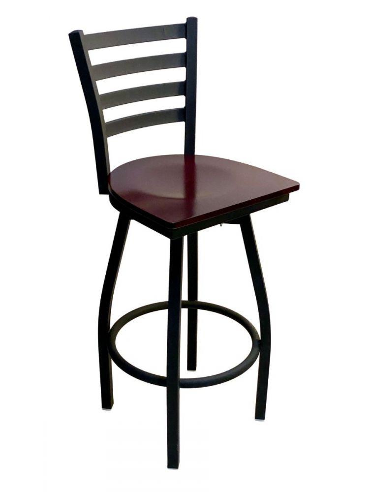 #316BS/SWI Metal Ladder Back Swivel Bar Stool with Brown Wood Seat