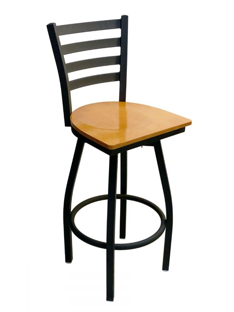 #316BS/SWI Metal Ladder Back Swivel Bar Stool with Natural Wood Seat