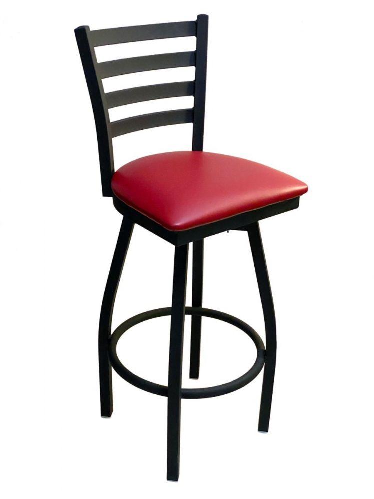 #316BS/SWI Metal Ladder Back Swivel Bar Stool with Claret Vinyl Seat