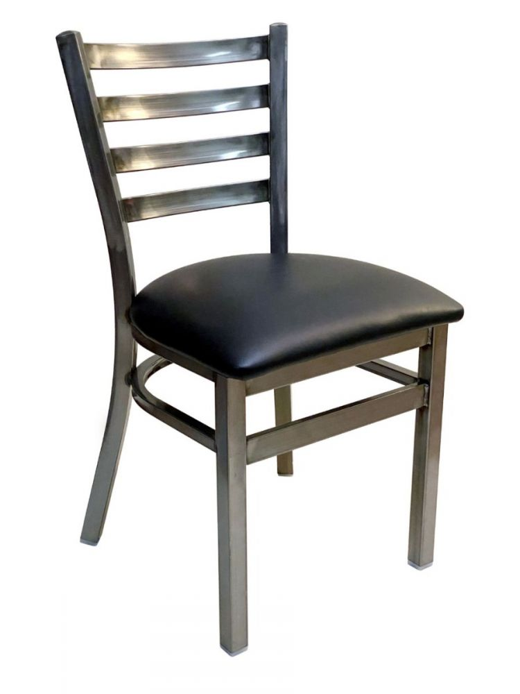 #316/ Metal Ladder Back Chair Clear Coat with Black Vinyl Seat