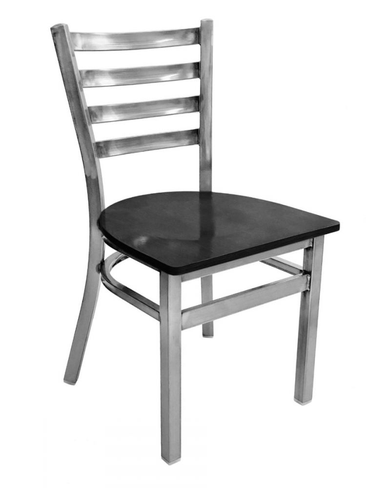 #316/ Metal Ladder Back Chair Clear Coat with Black Wood Seat