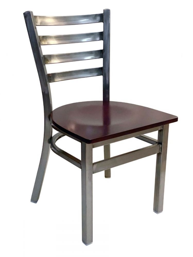 #316/ Metal Ladder Back Chair Clear Coat with Brown Wood Seat